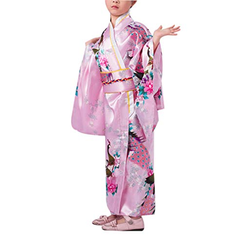 Children Yukata Vintage Girl Kimono Kids Dress Wedding Wear Party Clothing Pink -