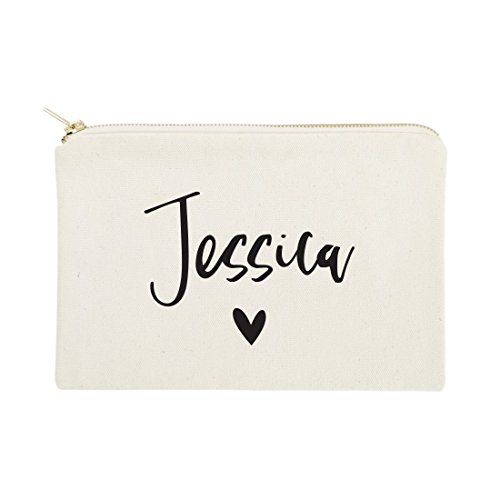 The Cotton & Canvas Co. Personalized Name Heart Cosmetic Bag and Travel Makeup (Heart Canvas Bag)