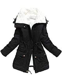 Women's Winter Mid Length Thick Warm Faux Lamb Wool Lined Jacket Coat