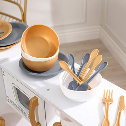 KidKraft Exclusive Edition Modern White Play Kitchen with Gold Accents  27Piece Cookware Set