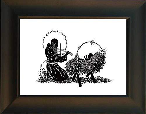 - Trinity Stores Desk Framed Religious Art Print-Black - 7x9 Bl. Solanus Casey and Infant Jesus by D. Paulos
