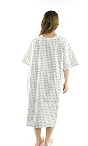 Hospital Gown (4 Pack) Cotton Blend Useful Fashionable Patient Gowns Back Tie 46'' L& 66'' W Fits All Sizes to 2XL Sizes Fit Comfortably - Hospital Gown by Magnus Care (Image #5)