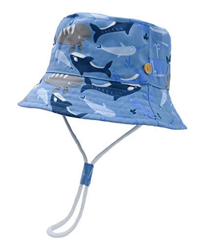 ERISO Toddler Dinosaur Hat Sun Protection Animal Bucket with Chin Strap (6-12 Months, Shark)