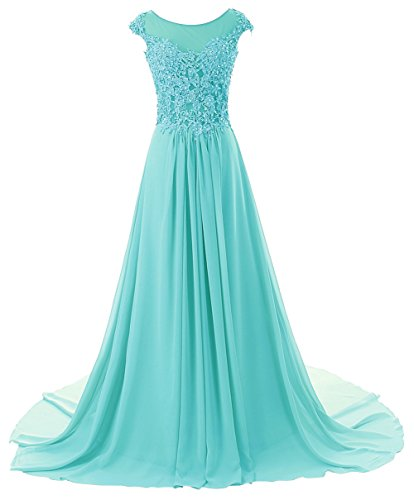 Prom Dresses Long Evening Gowns Lace Bridesmaid Dress Chiffon Prom Dress Cap Sleeve Baby Blue US14W