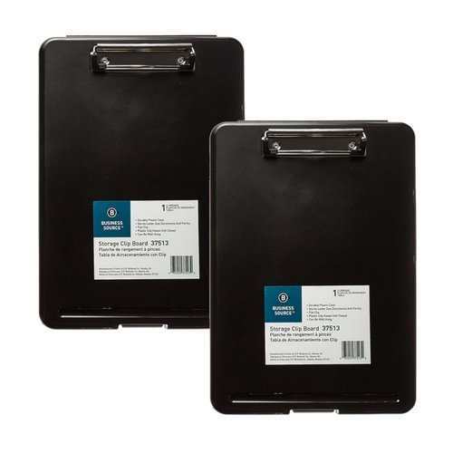 Business Source Plastic Storage Clipboard - Black - Letter-Size (37513) (2 Pack) - Business Storage