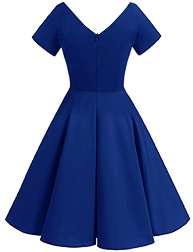 Short Blue Cocktail Vintage Gardenwed Sleeves Royal Dress Garden 1950s Dress Party V with Women's Retro neck Picnic qCOCSf