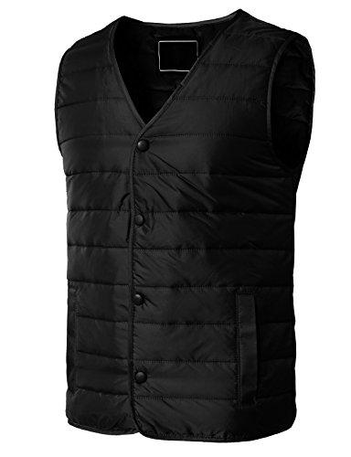 H2H Men's Winter Removable Hooded Padded Vest Black US XS/Asia M (KMOV0163)