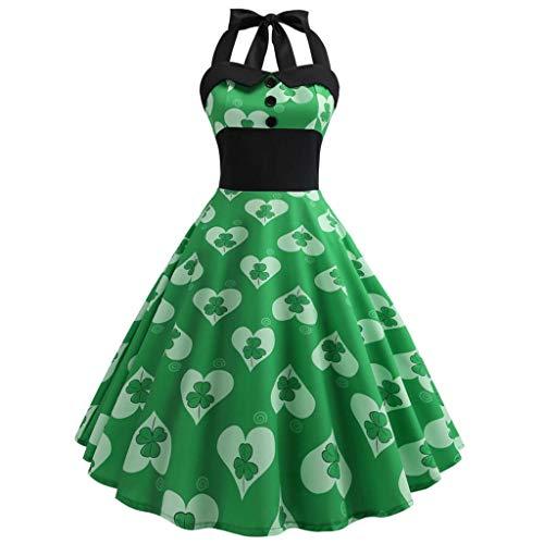 - WOCACHI St. Patrick's Day Women Vintage 1950s Retro Halter Sleeveless Prom Swing Dress Ireland Irish National Day Green Clover Hat Novelty A-Line Patchwork Mini