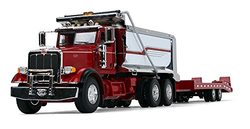 (First Gear 1/50 Scale Diecast Collectible Red/Chrome/Red Peterbilt Model 367 Dump Truck with Beavertail Trailer (50-3404) )