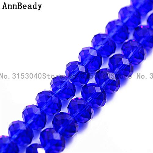 Calvas 70pcs Peacock Green AB Color 10mm Rondelle Spacer Loose Beads Austria Glass Crystal Round Beads for DIY Jewelry Making Beads - (Color: deep Blue)