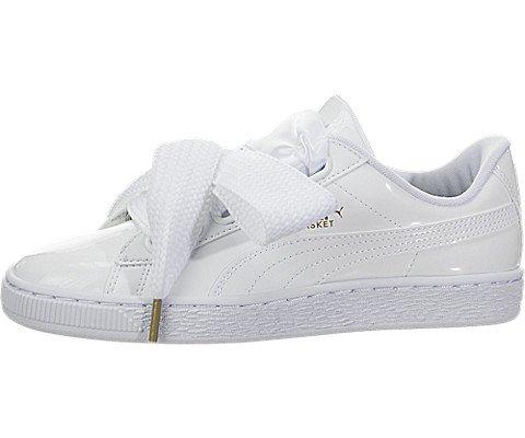 PUMA Women's Basket Heart Patent Sneaker - White White (Large Image)