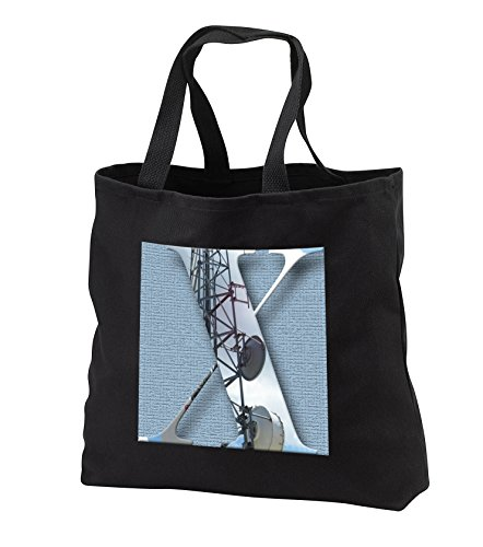 Jos Fauxtographee- Alphabet X - An electrical tower used to cut out the Letter X on a slate blue back - Tote Bags - Black Tote Bag 14w x 14h x 3d (tb_280049_1)