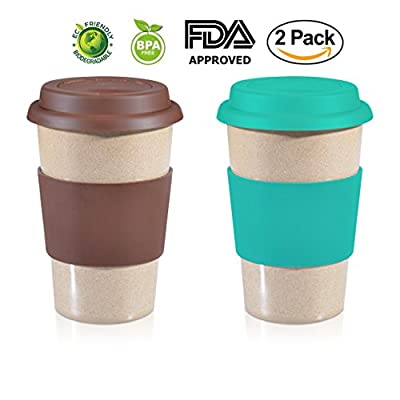 14oz ValuePack Sea Green + Brown 100% Organic EcoFriendly Reusable Travel Mug, To Go Takeaway Coffee Cup, Biodegradable Material FDA Approved BPA Free, Leak Proof Silicone Lid & Heat Resistant Grip