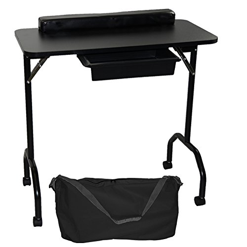 LCL Beauty Black Portable Folding 1-Drawer Manicure Table with Client Wrist Pad and Free Carrying Case
