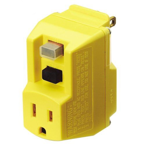 TRC 90265-6-012 Shockshield Yellow Portable GFCI Plug with Surge (Ground Fault Interrupter)