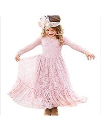 Lace Flower Girl Dress Long Sleeves Princess Communion Dresses for 2-13T