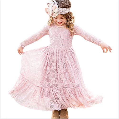 (CQDY Lace Flower Girl Dress Long Sleeves Princess Communion Dresses for)