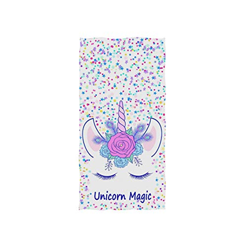 ZOEO Unicorn Hand Towel Cream Unicorn Magic Dish Towels Cotton Face Towel Bath Decor Set for Girls 30x15 inch Gym Yoga Towels ()