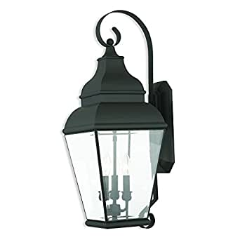 Livex Lighting 2593-04 Exeter - Three Light Outdoor Wall Lantern, Black Finish with Clear Beveled Glass