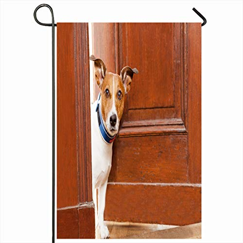 Ahawoso Garden Flag 12x18 Inches Guest Welcome Jack Russell Terrier Dog Door Leash Sports Recreation Pet House Guardian Design Watch Decorative Seasonal Double Sided Home House Outdoor Yard Sign