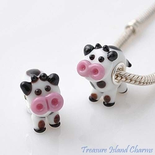 Cow LAMPWORK Murano Glass 925 Sterling Silver European Euro Bead Charm Crafting Key Chain Bracelet Necklace Jewelry Accessories Pendants