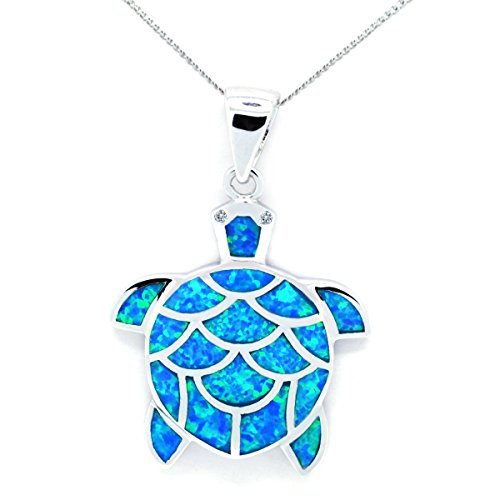 Created Blue Opal Sea Turtle Pendant Necklace CZ Nautical Sealife Sterling Silver, 16-inches