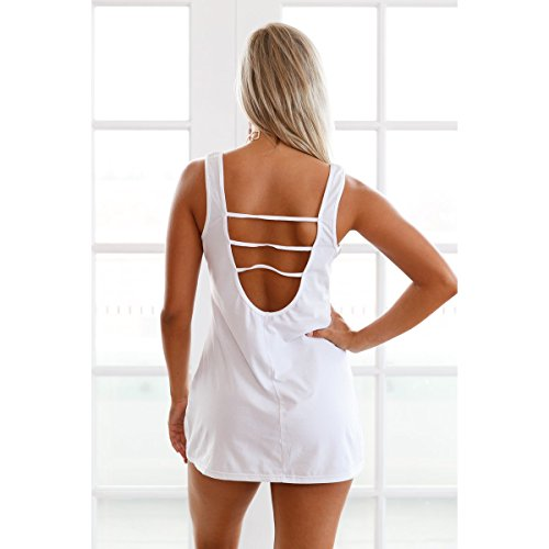 Mela Proibita - Top lungo donna per la spiaggia canotta mare fashion scollo tondo cotone sexy - Bianco, S