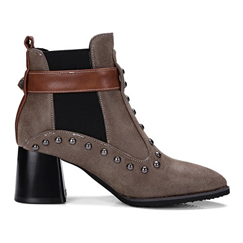 Hecater Mid-Calf Pointed Toe Boots For Women Rivet High Heels Woman Shoes Chunky Heel Brown 38k5yA3l