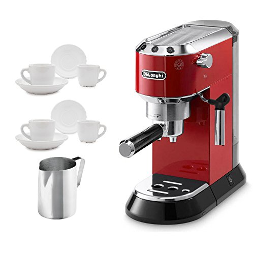 Delonghi EC680R DEDICA 15-Bar Pump Espresso Machine, Red Includes Ceramic Cups and Saucers and Stainless Steel Frothing Pitcher