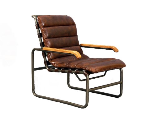 Designsessel New Brunswick Stahlrohr Vintage Leder