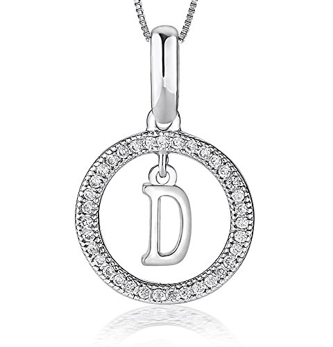 Nuni Jewelry Sterling Silver Cubic Zirconia CZ Initial Pendant Necklace (D)