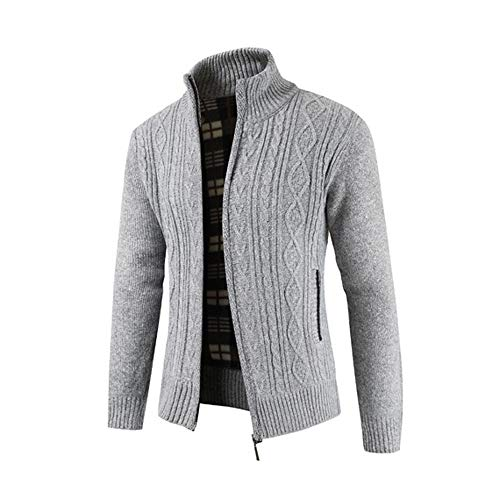 Tops for Men koiu❀❀Winter Cardigan Gray Zipper Stand Mens Coats Sweater Collar Outwear Give Coats Winter Solid wq8twE