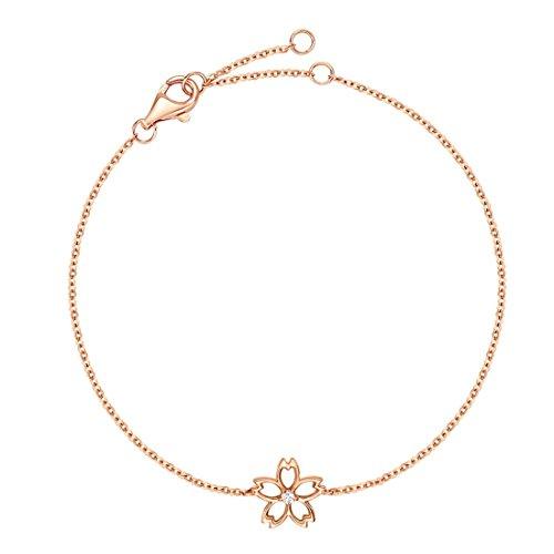 14k Rose Gold Diamond Bangle - Carleen 14K Solid Rose Gold Diamond Cute Cherry Blossom Flower Delicate Bracelet Dainty Fine Jewelry for Women Girls, 7 inch