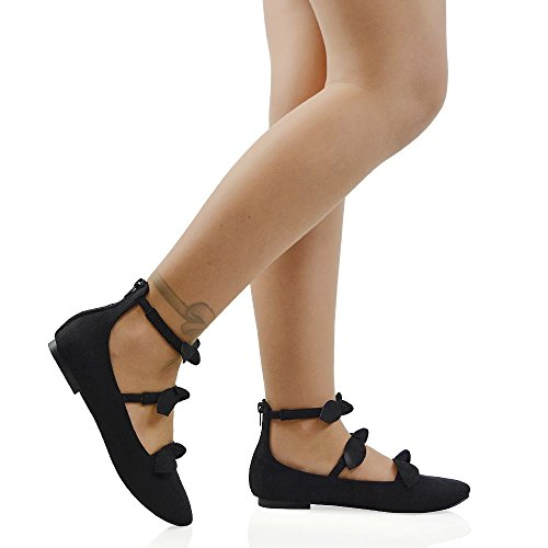 ESSEX GLAM Women's Ballerina Pumps Triple Strap Bow Detail Zipper Round Toe Shoes Black Faux Suede y2ZEk