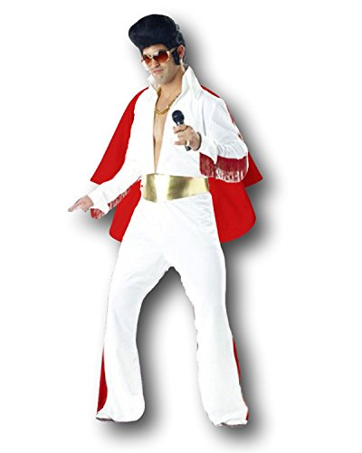 Rubber Johnnies King of Rock'n'Roll Costume, White Jumpsuit, One Size up to 6' Tall, Adult ()