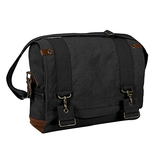 Black Vintage Classic B-15 Canvas Shoulder Messenger Bag