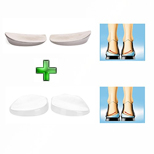 Orthopedic Insoles Shoe Inserts Medial & Lateral Heel Wedge Lift Silicone Pads Corrective O/X Type Leg (2 Pairs Kit)