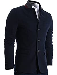 Mens Slim Casual Waffle Fabric Blazer Jacket