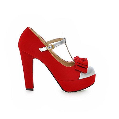 Damen Gemischte Farbe Hoher Absatz Schnalle Rund Zehe Pumps Schuhe, Gelb, 40 VogueZone009