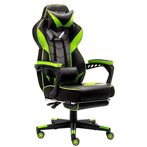 Bonzy-Home-Gaming-Chair-Computer-Office-Chair-Ergonomic-Desk-Chair-with-Footrest-Racing-Executive-Swivel-Chair-Adjustable-Rolling-Task-ChairBright-Green