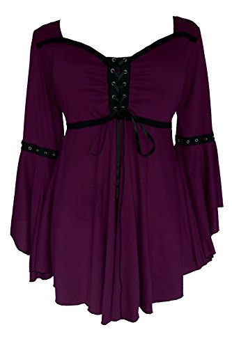 Dare to Wear Victorian Gothic Boho Women's Plus Size Ophelia Corset Top Plum 3x ()