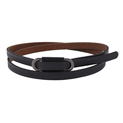 Damara Womens High Grade Slim Genuine Leather Waist Belt,Black (Decoration Genuine Leather Belt)