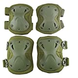 Tactical Military Airsoft Sport Knee and Elbow Protective Pads Adjustable(Green)