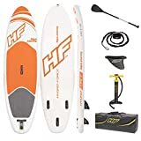 Bestway Hydro-Force Inflatable Stand Up Paddle Board | Inflatable SUP for Adults and Kids | 6' Thickness | Starter Kit Includes Adjustable Aluminum Paddle, Hand Pump, Travel Bag, Surf Leash, Fins