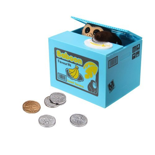 Dazzling Toys Battery Operated Kids Monkey Stealing Money Saving Bank Box