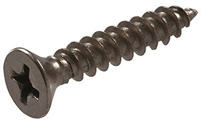 "The Hillman Group 852783 Hinge Screws - 9 x 1"" Flat Head Phillips Sheet Metal Screw - Satin Nickel Finish. 18-Pack"