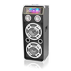 "Pyle PSUFM1035A 1000W Disco Jam Powered Two-Way Bluetooth Active PA Speaker System With Flashing DJ Lights 4 1000 WATT POWER: This active PA amplifier speaker system is equipped w/ 10"" subwoofer and 3"" tweeter with 1000 watt peak power / 500 W RMS at 4 ohm for full range surround stereo sound reproduction and impressive bass response. Matches w/ PSUFM1030P COMPATIBLE WITH BLUETOOTH: This box type disco jam powered loud speaker is compatible w/ bluetooth for wireless audio streaming and works w/ devices like iPhone, android mobile phone, iPad, tablet, PC. Ideal for personal indoor home and outdoor use 6 INPUTS: Equipped with a USB flash drive and SD card reader so it can serve as an MP3 player, a 3.5mm AUX input, RCA, and 2 1/4"" microphone / guitar input for karaoke. It also has FM radio with digital LCD channel display for your favorite station"