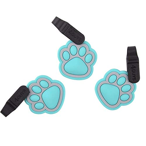 4GUYS Pet ID Tag, Easy Change Connector for Personalized ID Tag, EZ Clip, No Metal and Silent, Teal Gray, One Size Fits All Dogs and Cats, No Tools Needed, Pack of 3