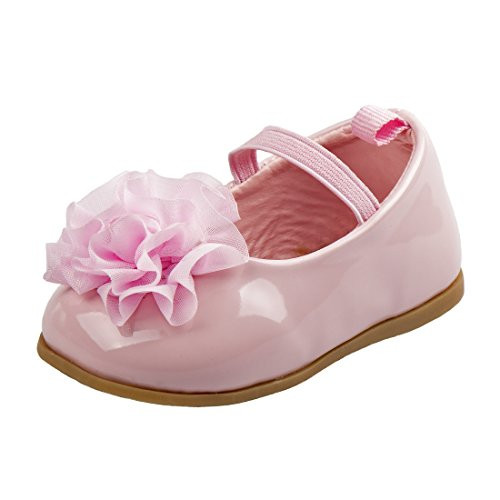 (Josmo Girl\'s Patent Dressy Shoe with Chiffon Flower, Pink Patent, 2 M US Infant')