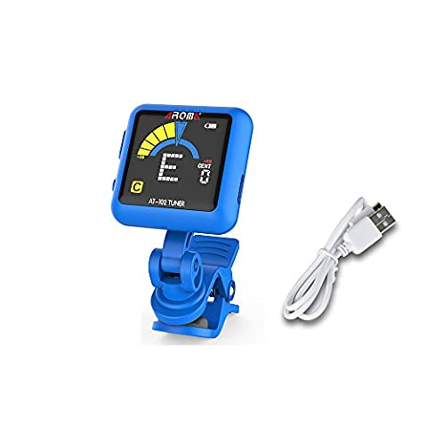 Molshine Rechargeable Battery Clip-On Tuner for Guitar, Chromatic, Ukulele, Bass, Violin& Other Stringed Instruments, Turn 360 Degrees,advanced VA Screen,Included Micro USB cable-Blue (Tuner For Stringed Instruments)